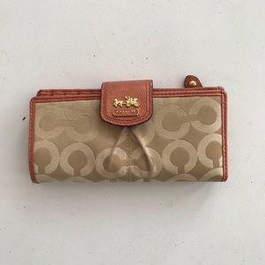 Coach wallet thin orange tan brown leather